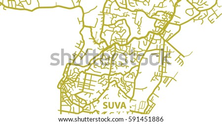 Detailed Vector Map Suva Gold Title Stock Vector 591451886