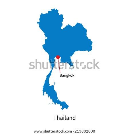 Detailed vector map of Thailand and capital city Bangkok - stock vector