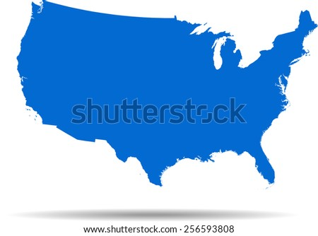 Detailed vector map of the USA - stock vector