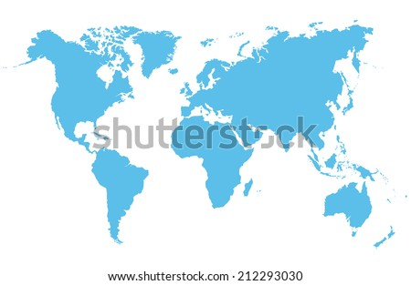 Detailed vector map of the world on a white background - stock vector