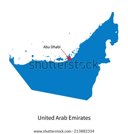 Detailed vector map of United Arab Emirates and capital city Abu Dhabi - stock vector
