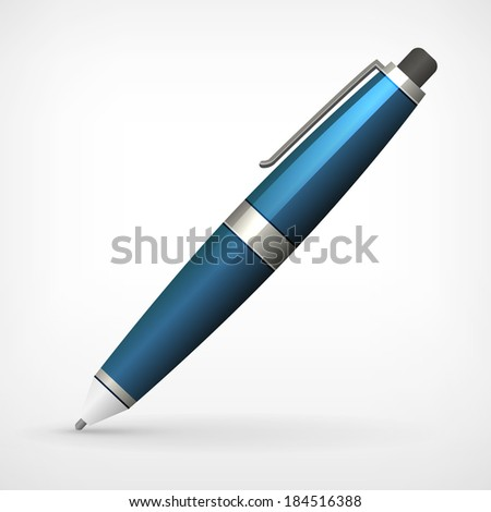 detailed vector pen illustration isolated from background - stock vector