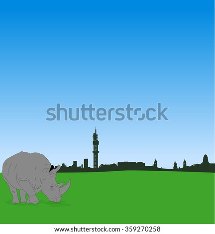 Detailed vector Pretoria silhouette skyline with male rhinoceros - stock vector