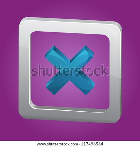 Detailed vector red cross icon with shadow isolated on purple background - stock vector
