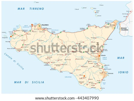 detailed vector road map of island sicily, italy