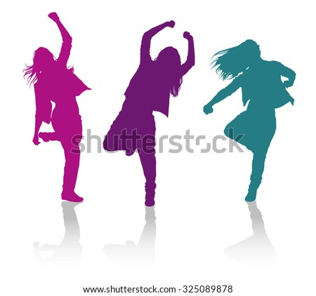 Detailed vector silhouettes of girls dancing hip-hop dance