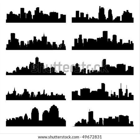 Detailed vector silhouettes of world cities