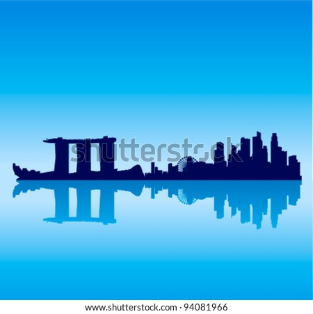 Detailed vector Singapore silhouette skyline - stock vector