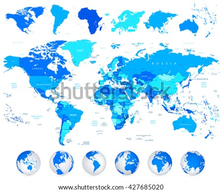Detailed vector World map of blue colors and continents isolated on white. - stock vector