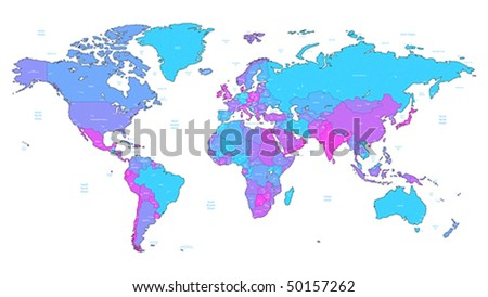 Detailed vector World map of blue, pink, violet colors. Names, town marks and national borders are in separate layers. - stock vector