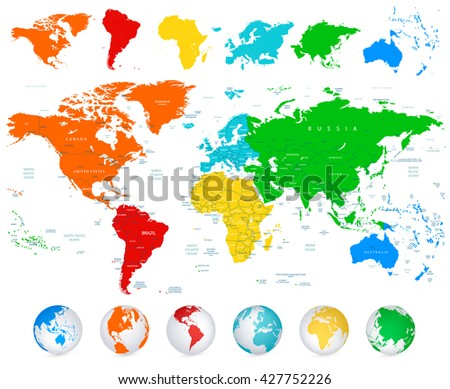 Detailed vector world map colorful continents stock vector 427752226 detailed vector world map with colorful continents political boundaries country names and 3d globes gumiabroncs Choice Image