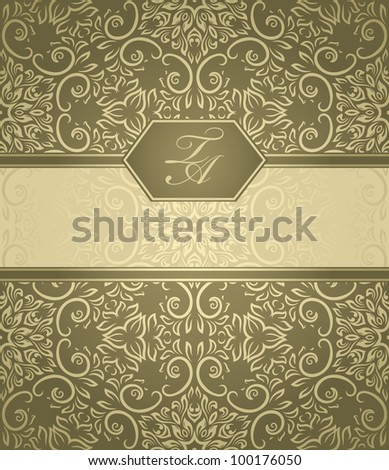 Detailed vintage card with damask wallpaper on beige background - stock vector