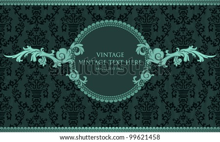 Detailed vintage card with damask wallpaper on blue grunge background - stock vector