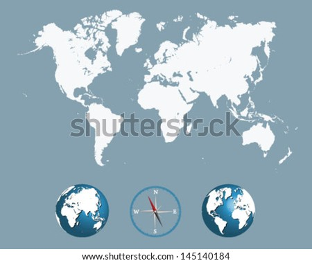 Detailed white world map with compass and globe-vector - stock vector