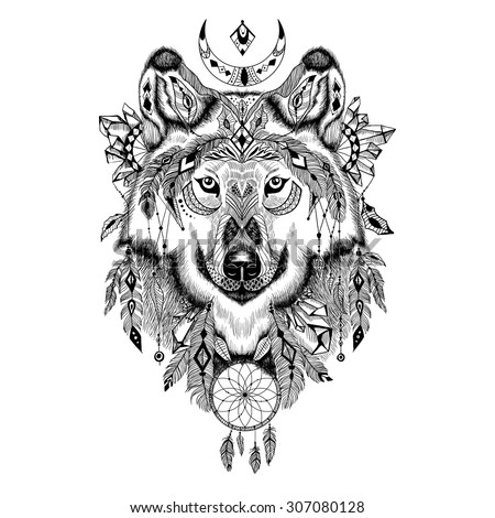 Detailed Wolf in aztec style - stock vector
