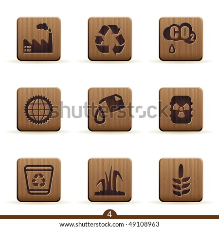 Detailed wooden ecology icons - stock vector