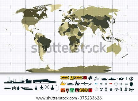 Detailed world map military power icon stock vector royalty free detailed world map and military power icon setl elements are separated in editable layers gumiabroncs Gallery