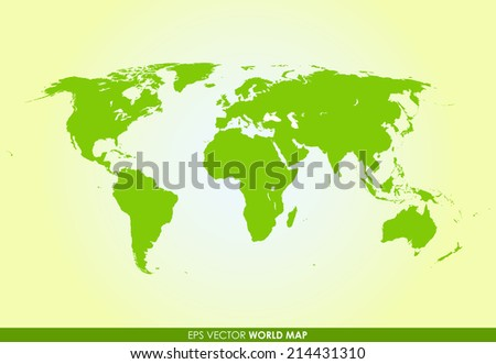 Detailed world map in green color  - vector icon - stock vector