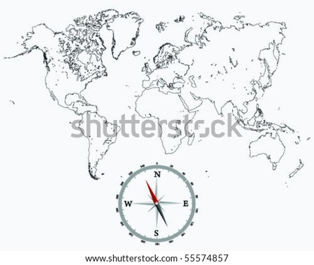 Detailed world map outlines compass stock vector hd royalty free detailed world map outlines and compass gumiabroncs Gallery