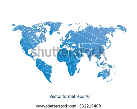 Detailed world map vector. world map graphic in blue color  - stock vector