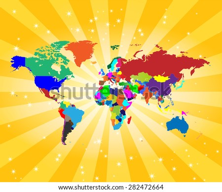 Detailed World Map with Attractive Background - stock vector