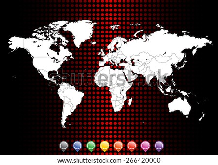 Detailed World Map with Pins- Separable by country borders - Vector Illustration - stock vector