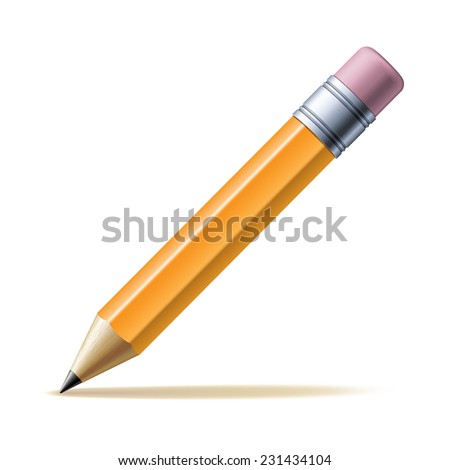 Detailed yellow pencil isolated on white background. Vector illustration - stock vector
