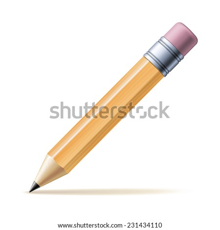 Detailed yellow pencil isolated on white background. Vector illustration