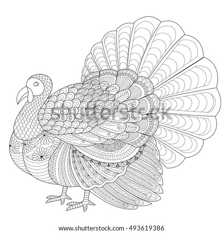 Detailed Zentangle Turkey Coloring Page Adult Stock Vector HD