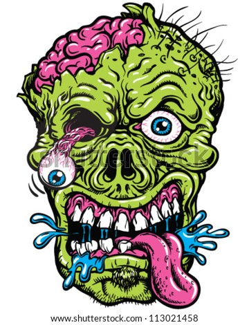Detailed Zombie Head Illustration - stock vector