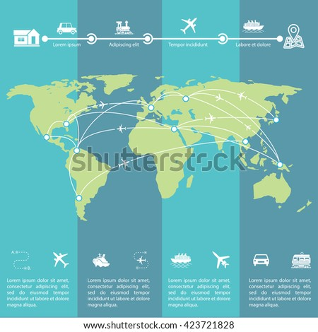 Details of the travel indicating routes on the world map of the earth. Detail infographic vector illustration with world map. The visual data processing. - stock vector