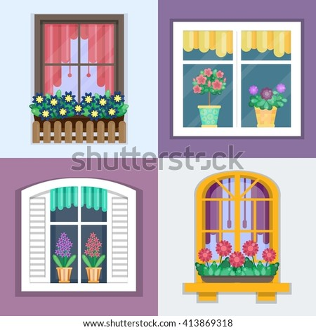 Details - window set for constructing house. Vector illustration of windows set with plants in flower pots. Flat style. Collection of house construction. Urban street design - stock vector