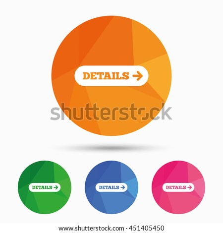 Details with arrow sign icon. More symbol. Website navigation. Triangular low poly button with flat icon. Vector - stock vector