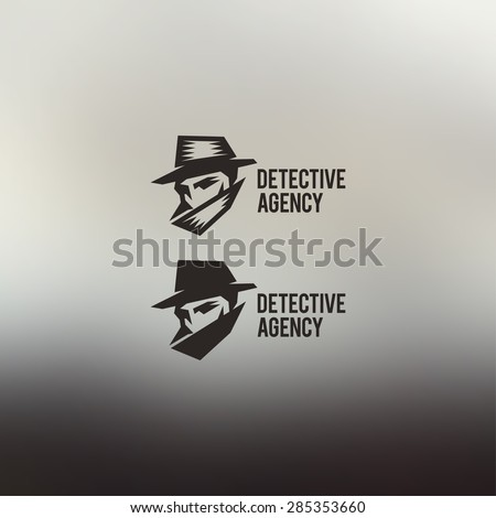 Detective agency vector sign. Vintage label. Private detective logo. - stock vector