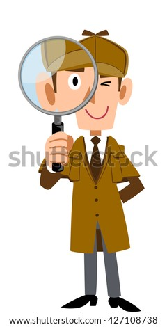 Detective has a magnifying glass - stock vector