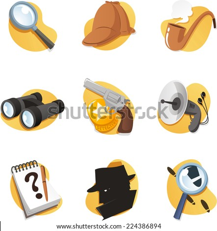 Detective Icon set elements in vector format. With magnifying glass, cap, binoculars, gun, radar, hat, Notepad, pipe, Magnifying Glass, and many more. - stock vector