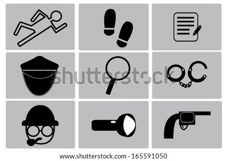 detective icons set - stock vector