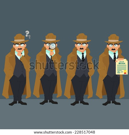 Detective in a raincoat and hat. strict police in civilian clothes. character. vector illustration of a flat style. - stock vector