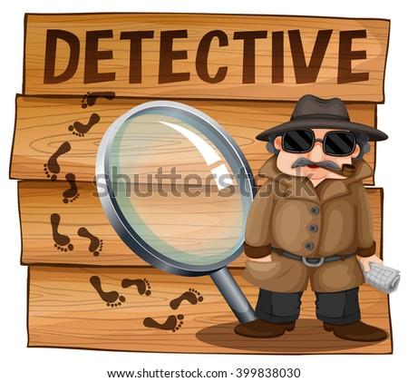 Detective in brown overcoat illustration - stock vector
