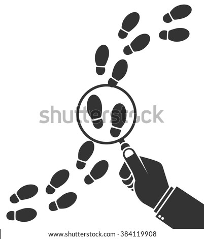 Detective inspecting or following footsteps concept. Hand holding magnifying glass over footprint symbol. Flat style - stock vector