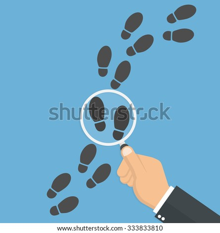 Detective inspecting or following footsteps concept. Hand holding magnifying glass over footstep symbol. Flat style - stock vector