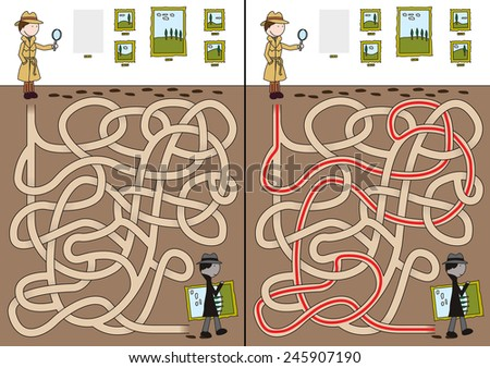 Detective maze for kids with a solution