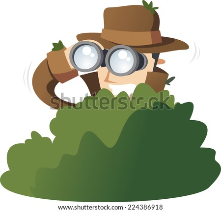 Detective Private Investigator Spy Spying in the bushes. Vector Illustration Cartoon.  - stock vector