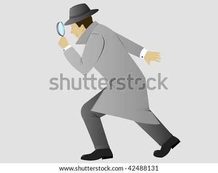 Detective searching - stock vector