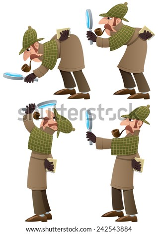 Detective Set: Set of 4 illustrations of cartoon detective. No transparency used. Basic (linear) gradients.  - stock vector