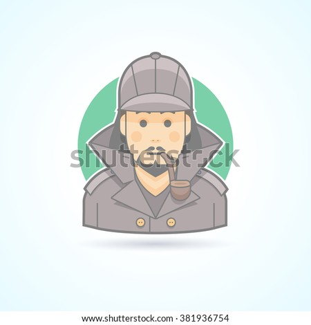 Detective, Sherlock Holmes, snoop icon. Avatar and person vector illustration. Flat colored outlined style. - stock vector