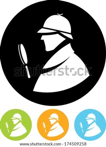 Detective Sherlock Holmes vector profile icon - stock vector
