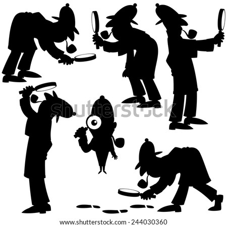 detective silhouettes set of 6 silhouettes of cartoon detective no transparency and gradients used