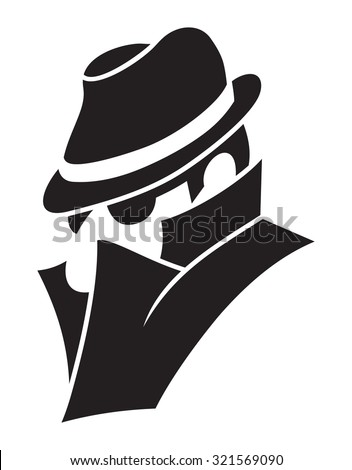 Detective - spy man vector icon - stock vector