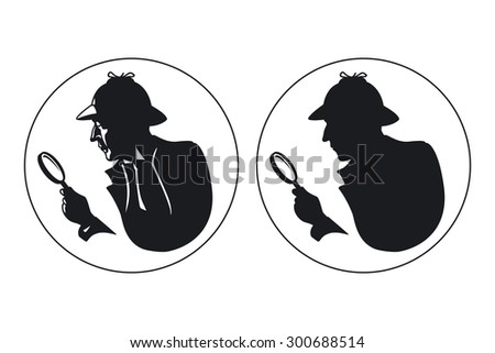 Detective vector silhouette. Man in hat, agent spy, private and mysterious, human inspector - stock vector